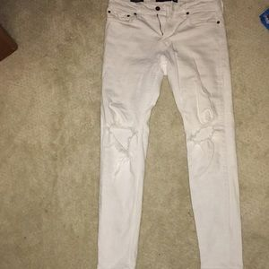 Hollister White Ripped Skinny Jeans